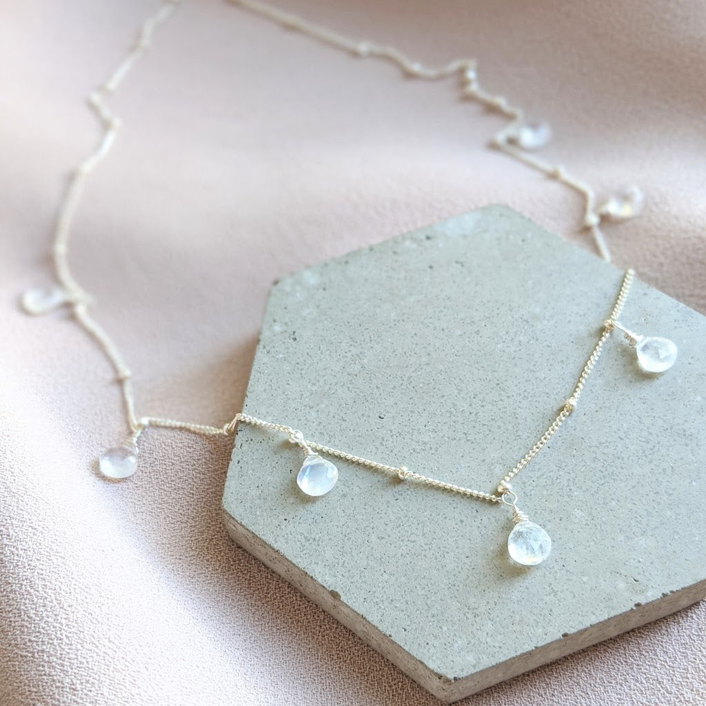 Soraya moonstone necklace 3/4 angle