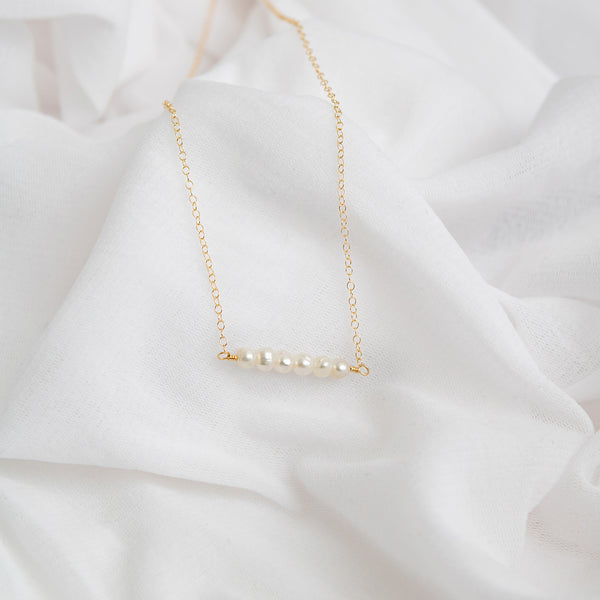 """Abigail"" pearl bar necklace"