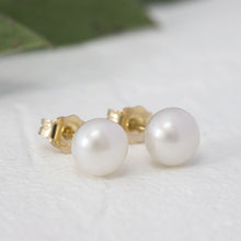"Load image into Gallery viewer, ""Hattie"" pearl stud earrings"