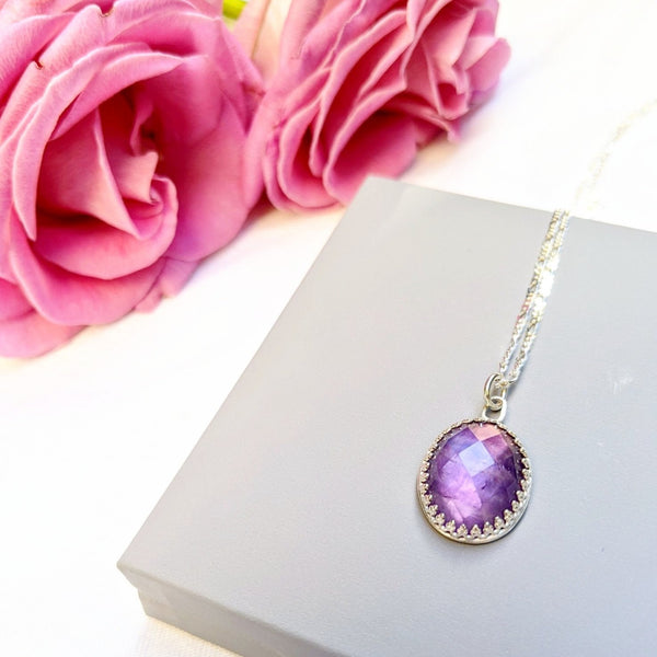 """Chantal"" Amethyst pendant on sterling silver chain"