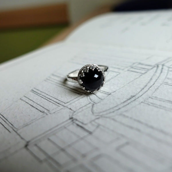 """Eva"" Black star diopside ring"