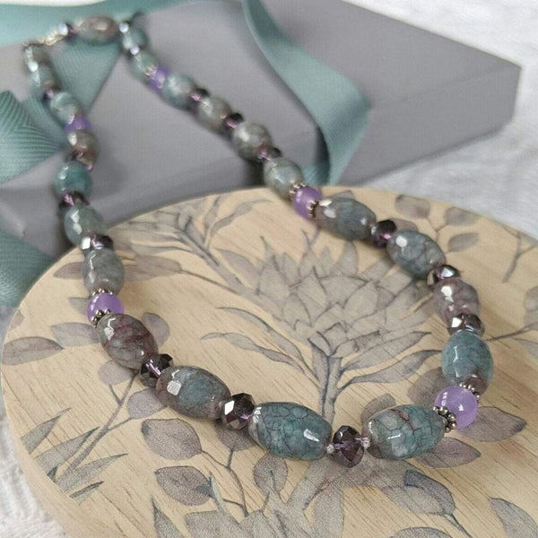 """Anne-Marie"" Agate, jade and crystal necklace"