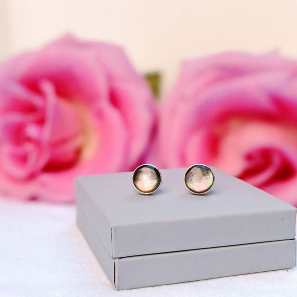 """Amelie"" Black lip pearl stud earrings"