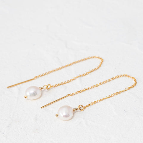 """Indie"" pearl threader earrings"