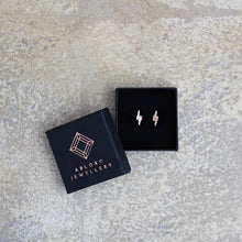 "Load image into Gallery viewer, ""June"" lightning bolt earrings"