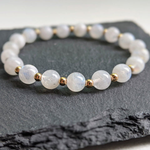 """Luna"" rainbow moonstone stretch bracelet"