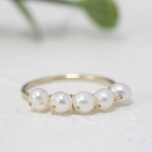 """Olive"" wire wrapped pearl ring"