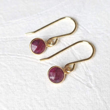 "Load image into Gallery viewer, ""Rosa"" petite gemstone drop earrings in gold vermeil"