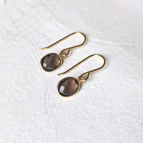"""Nerissa"" gemstone drop earrings in gold vermeil"