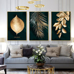 Black Gold Leaves  Canvas Art