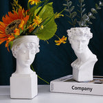 Head of a Woman and Man Figurine Table Vase