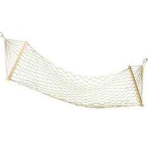 White Outdoor Mesh Cotton Rope Swing Hammock Hanging on the Porch or on a Beach
