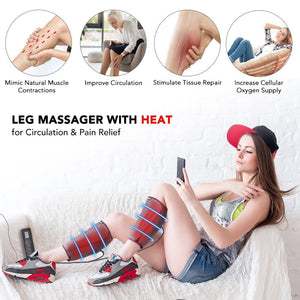 Electric Leg Massager With Air Compression Heating Knee Calf Foot Support