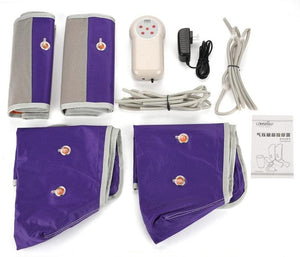 Purple Electronic Leg Compression Pump Foot Massager Stockings Sleeves Device