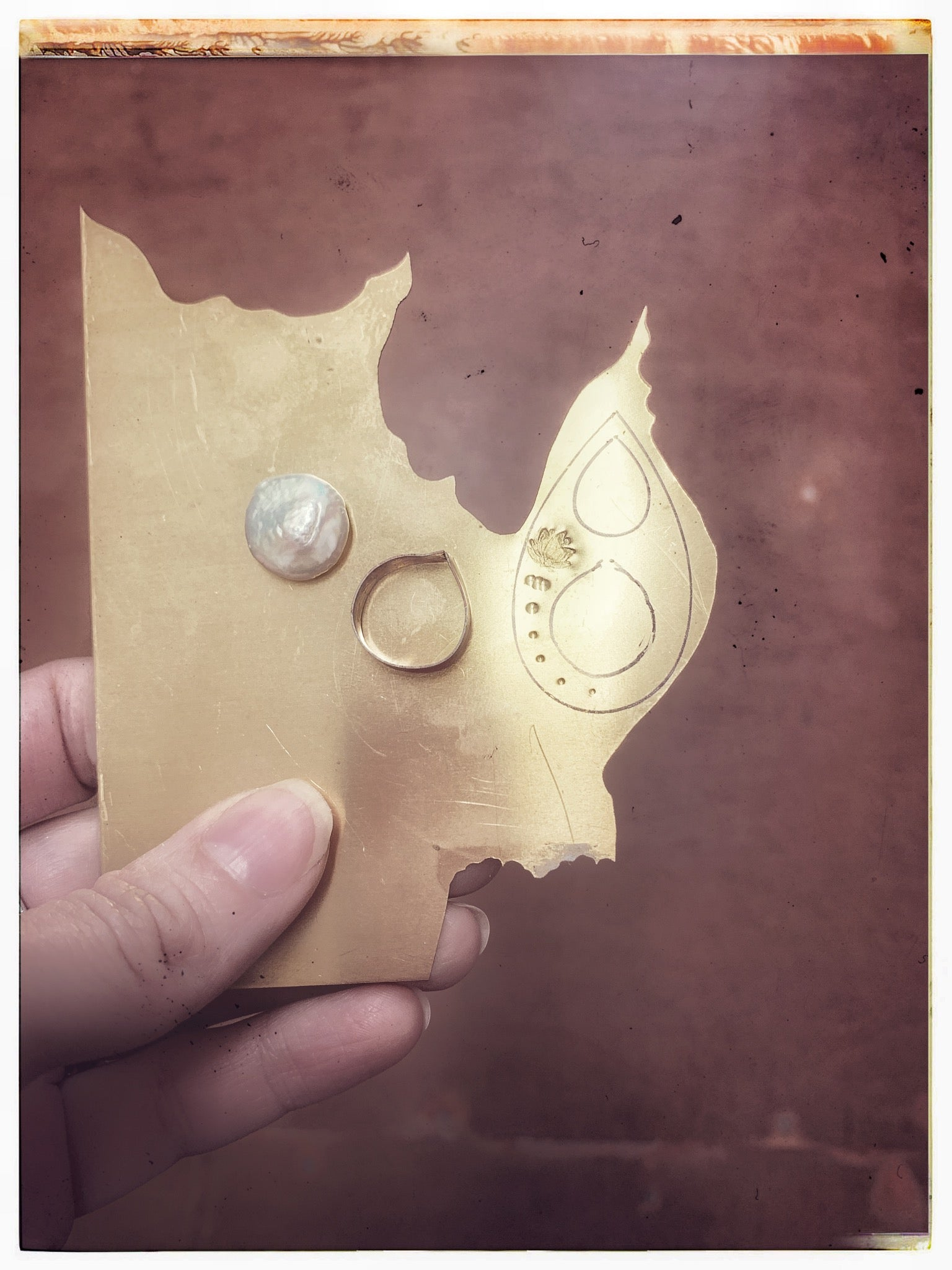 The beginnings of a new pearl and brass pendant by Erica Bapst