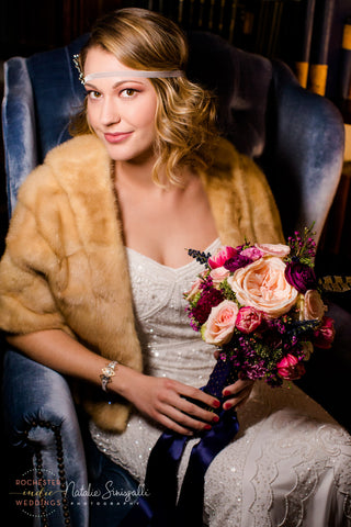 Golden Gem art deco inspired bracelet on model  Emma Pratt, photo by Natalie Sinisgalli Photography, flowers by Buds & Blooms 716, headpiece by B in a Bonnet