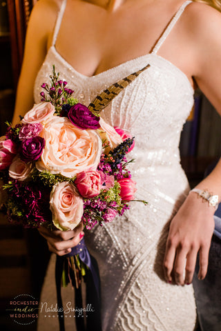 Golden Gem Bracelet by Erica Bapst Designs. Photo: Natalie Sinisgalli Photography, Dress: Lovely Bride Rochester, Flowers: Buds & Blooms 716