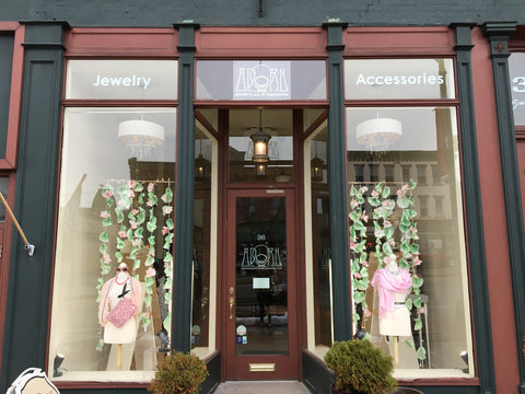 adorn jewelry canandaigua, spring 2017 display windows