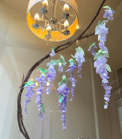 finished handmade paper wisteria plant