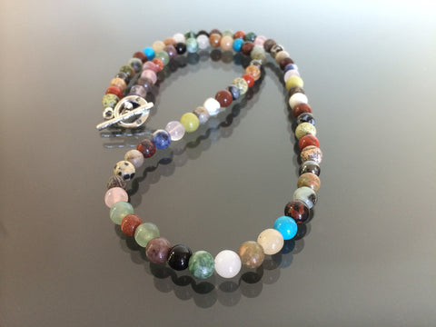 Multi stone necklace made with 6mm beads.  Made in USA