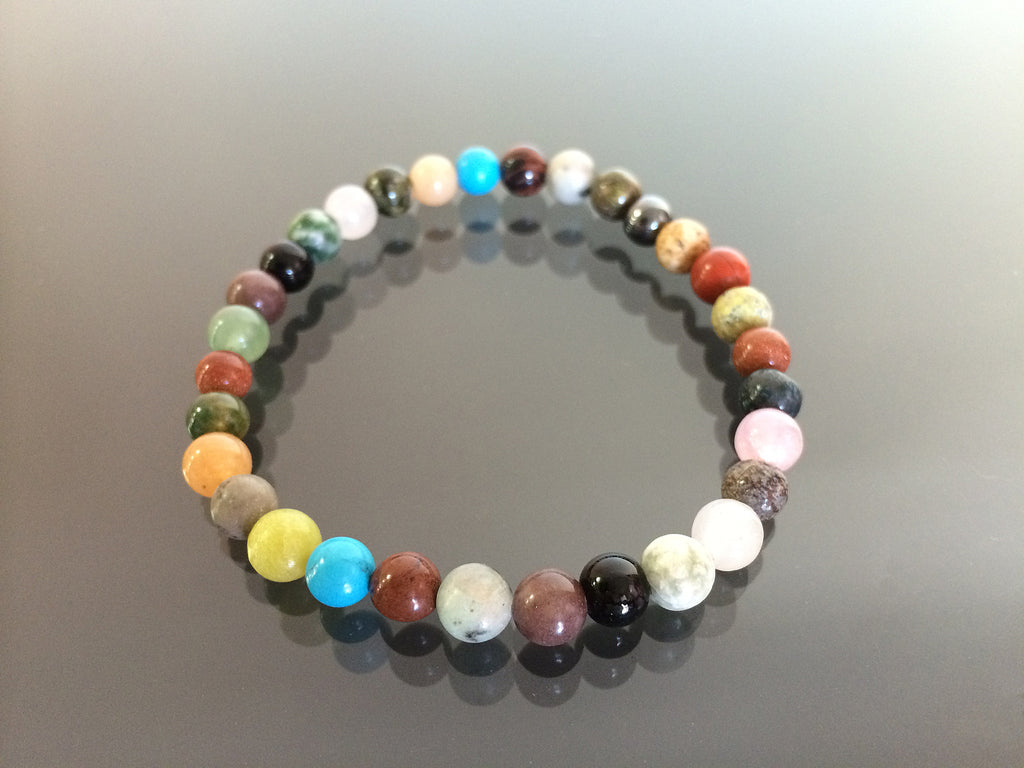 Multi stone stretch bracelet made with 6mm beads.  Made in USA