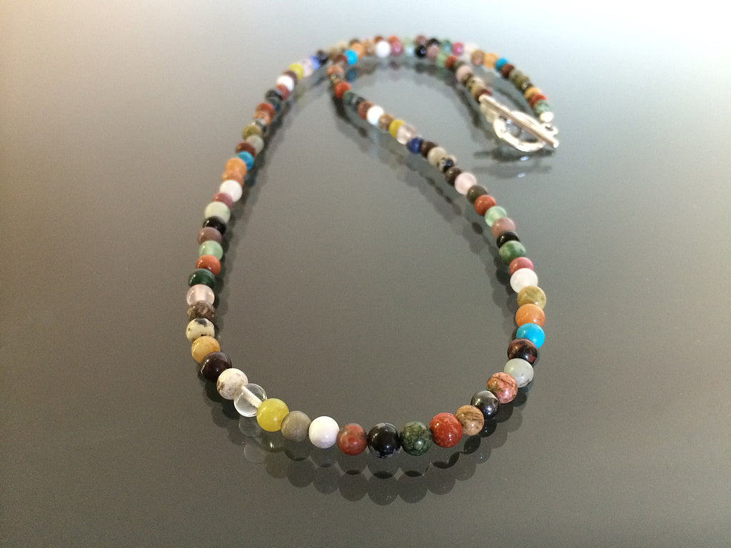 Multi stone necklace made with 4mm beads.  Made in USA