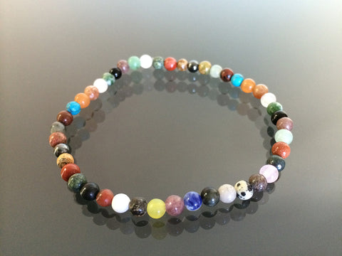 Multi stone stretch bracelet made with 4mm beads. Made in USA