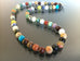 Multi Stone Necklace made with 8mm size beads. Made in USA.