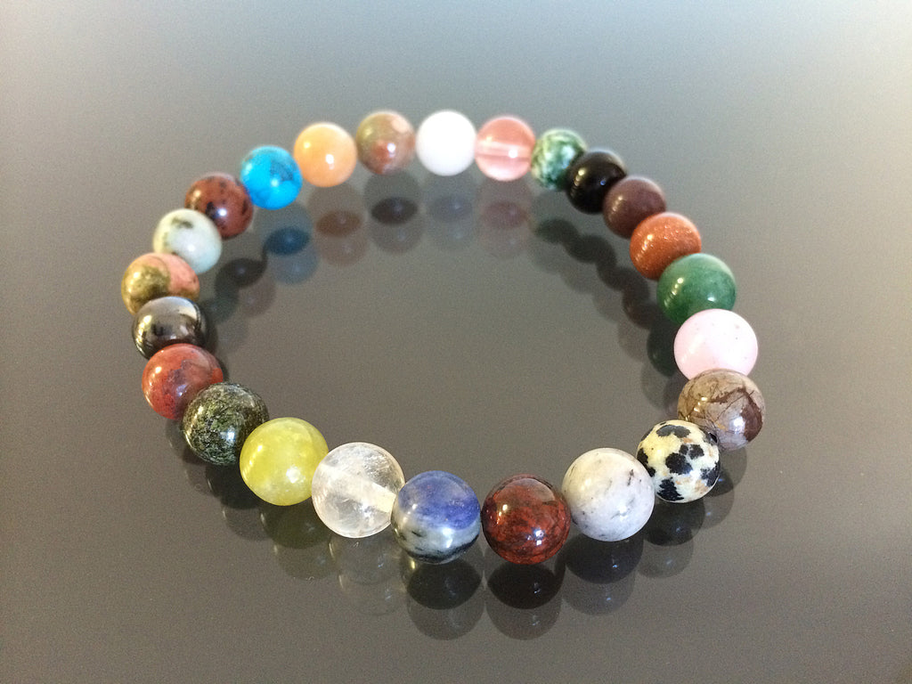 Multi stone stretch bracelet made with 8mm beads.  Made in USA