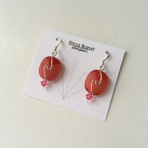 Oval Swirl Earrings in Watermelon Pink Glass