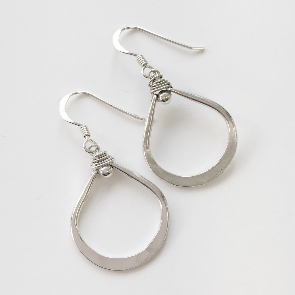 Handmade sterling silver teardrop earrings.  Made in USA.