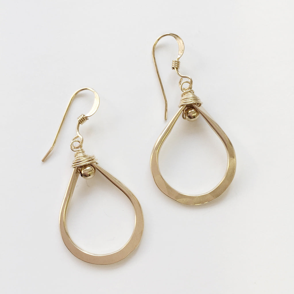 Handmade Gold Filled Teardrop Earrings.  Made in USA.