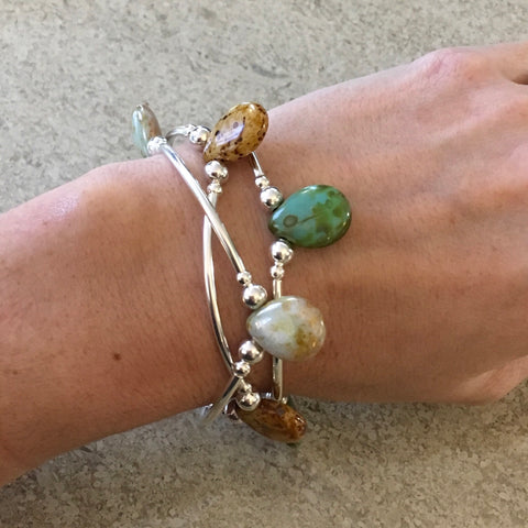 Trio of Teardrop Glass Stretch Bangle Bracelets in Stone Tones