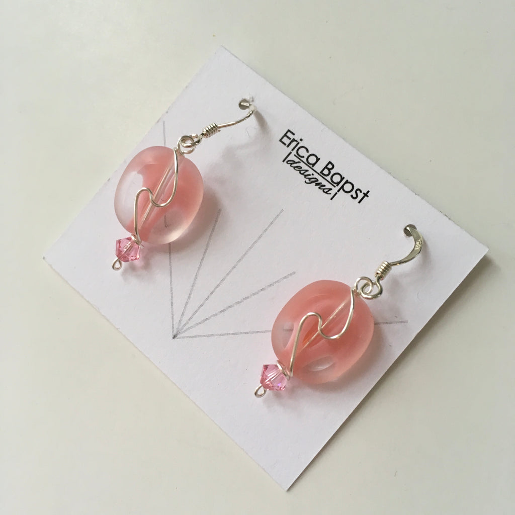 Oval Swirl Earrings in Pink and Clear Swirl Glass