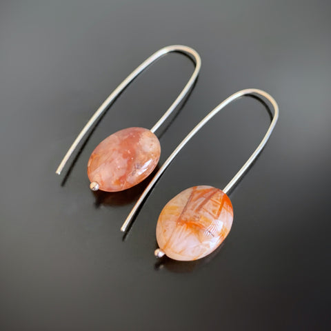 creamy orange agate oval drop earrings