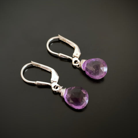 Amethyst Teardrop Earrings on Silver Leverbacks