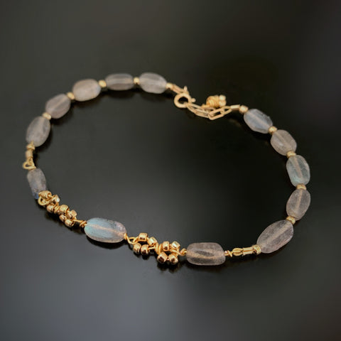 labradorite bracelet with gold infinity links