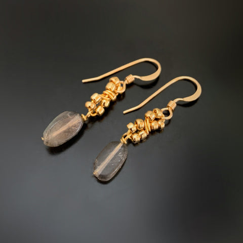 gold earrings with labradorite and beaded infinity seed bead links