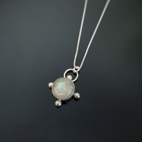 Ancient Glass Inspired sterling silver pendant