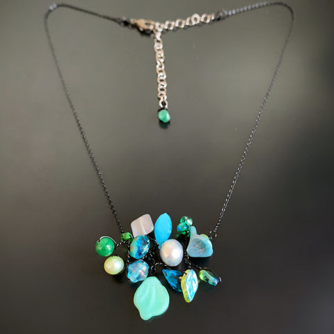 Bouquet Necklace in Aqua Blue with Black Chain