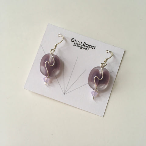 Oval Swirl Earrings in Lavender and Clear Glass