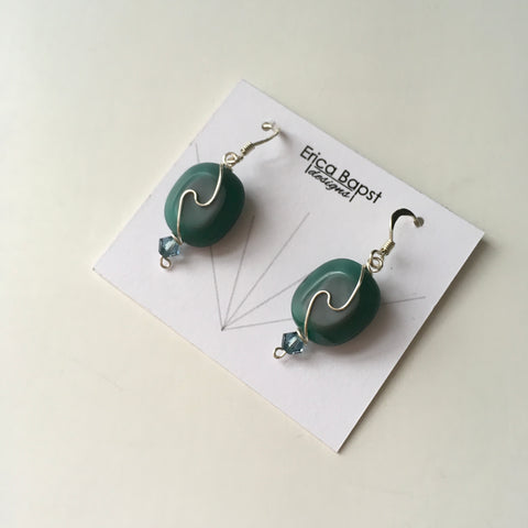 Oval Swirl Earrings in Milky Teal Glass