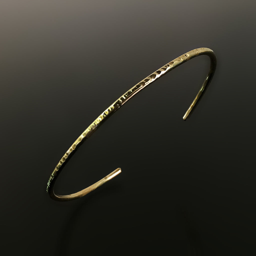 Beautiful thin gold brass textured cuff bracelet