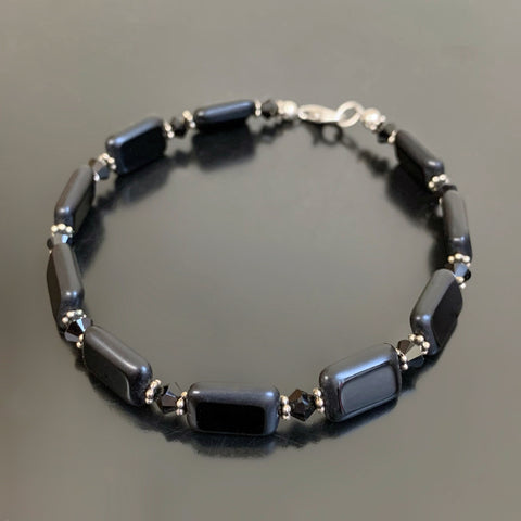 black rectangle glass bracelet with black crystals