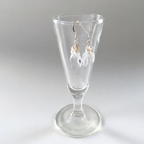 bridesmaids earrings teardrop floral silver