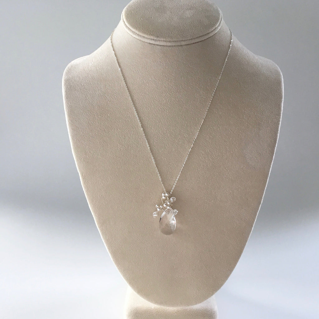 Bouquet necklace in silver, handmade bridal and bridesmaids jewelry