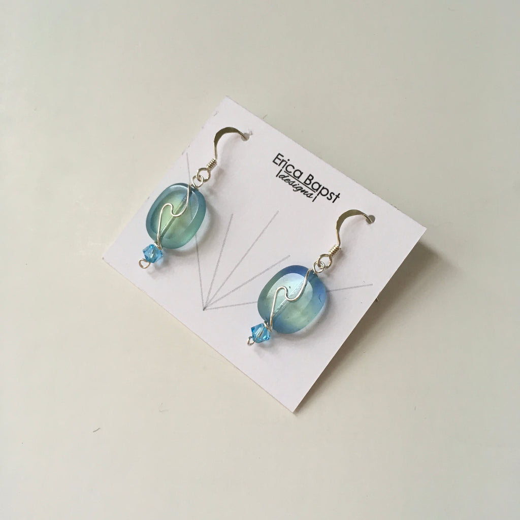 Oval Swirl Earrings in Light Blue and Pale Yellow Glass