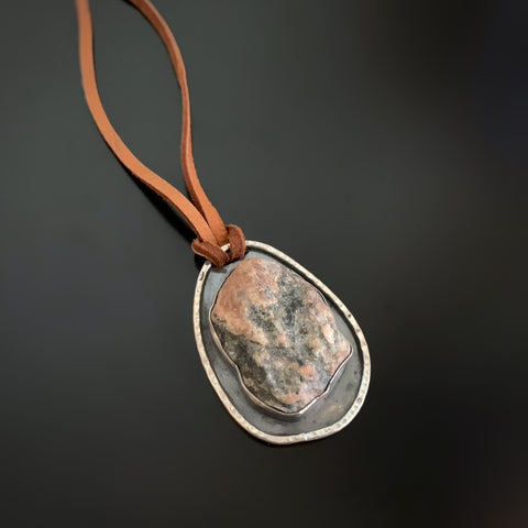 Canandaigua Lake Stone Pendant, Pink and Grey on Brown Leather Cord