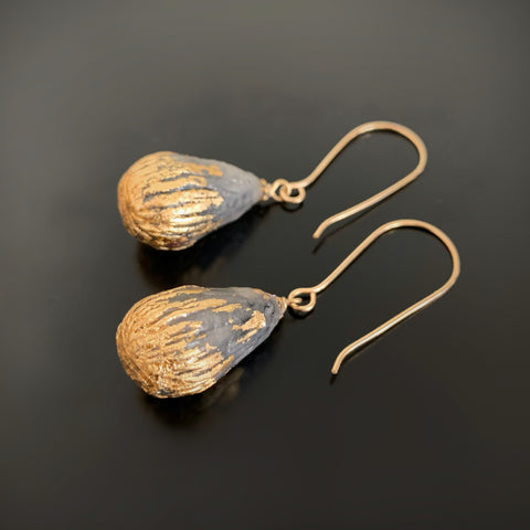 Chasing the Clouds Away earrings in earthy grey and gold