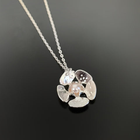 Sterling Silver Cherry Blossom Necklace with Pearl